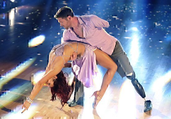 """DANCING WITH THE STARS - """"Episode 2001"""" -- """"Dancing with the Stars"""" is back with an all-new celebrity cast who hit the ballroom for the special 10th Anniversary season. The competition began with the live two-hour season premiere, MONDAY, MARCH 16 (8:00-10:01 p.m., ET) on the ABC Television Network. (ABC/Adam Taylor) SHARNA BURGESS, NOAH GALLOWAY"""